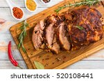 roasted pork shoulder cut on... | Shutterstock . vector #520108441