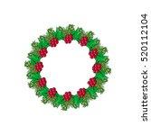 christmas wreath with mistletoe ... | Shutterstock .eps vector #520112104