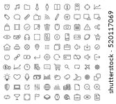 100 thin line universal icons... | Shutterstock .eps vector #520117069