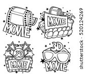 cinema and 3d movie advertising ... | Shutterstock .eps vector #520124269