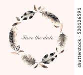 feather wreath in watercolor... | Shutterstock .eps vector #520126591