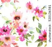 watercolor floral pattern.... | Shutterstock . vector #520136581