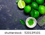 lime zest and lime close up on