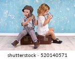 young kids talking with tin can ... | Shutterstock . vector #520140571