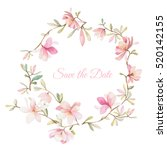 wreath of flowers in watercolor ... | Shutterstock .eps vector #520142155
