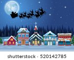santa claus riding his reindeer ... | Shutterstock .eps vector #520142785