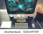 mock up of home desktop with pc ... | Shutterstock . vector #520149709