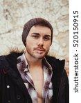 attractive guy with black wool... | Shutterstock . vector #520150915