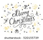 merry christmas with snowflakes ... | Shutterstock .eps vector #520155739