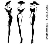 black and white retro fashion... | Shutterstock .eps vector #520162051