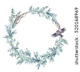 watercolor winter floral wreath ... | Shutterstock . vector #520168969
