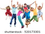 large group of happy cheerful... | Shutterstock . vector #520173301