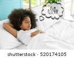 cute little girl dreaming of... | Shutterstock . vector #520174105