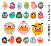 chicken. funky birds set.... | Shutterstock .eps vector #520176205