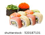 set of sushi roll japanese food ... | Shutterstock . vector #520187131