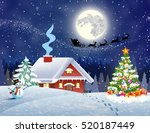 a house in a snowy christmas... | Shutterstock . vector #520187449