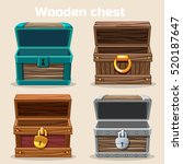 opened antique wooden chest in... | Shutterstock .eps vector #520187647