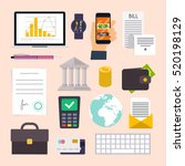 Collection of business workflow items and elements, finance and marketing objects. Flat design modern vector illustration concept.  | Shutterstock vector #520198129
