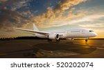 white passenger airplane on the ... | Shutterstock . vector #520202074