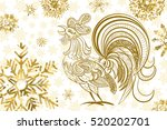 new year background. rooster... | Shutterstock .eps vector #520202701