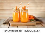 Glass Jars With Carrot Smoothie ...