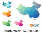 set of vector polygonal china... | Shutterstock .eps vector #520208035