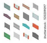 a set of isometric spans fences ... | Shutterstock .eps vector #520209097