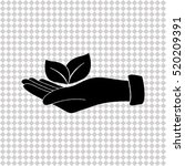 hand with leaf   black  vector... | Shutterstock .eps vector #520209391