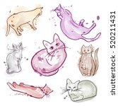 set of ink cats  soft colors... | Shutterstock .eps vector #520211431