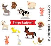 Farm Animals Cartoon On White...