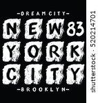 new york city brush typography  ... | Shutterstock .eps vector #520214701