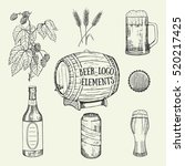 creative beer set with icons of ... | Shutterstock .eps vector #520217425