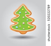 gingerbread snowman isolated on ... | Shutterstock .eps vector #520222789