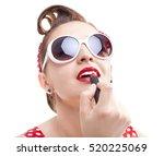 pin up gir in sunglasses... | Shutterstock . vector #520225069