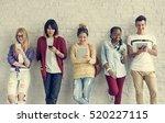 young diversity standing row... | Shutterstock . vector #520227115