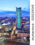 Night View Of Warsaw Modern...