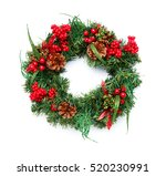 christmas wreath on white... | Shutterstock . vector #520230991