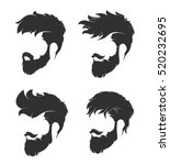 mens hairstyle with a beard and ... | Shutterstock .eps vector #520232695