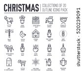 merry christmas thin line icons ... | Shutterstock .eps vector #520239091