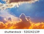 Orange Flame On Cloud With Blu...