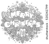 christmas composition in doodle ... | Shutterstock .eps vector #520242799