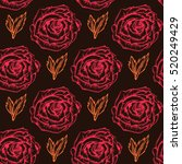 seamless pattern with roses.... | Shutterstock .eps vector #520249429