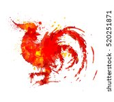 fire rooster symbol of year... | Shutterstock .eps vector #520251871
