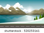 the winter landscape of forests ... | Shutterstock .eps vector #520253161