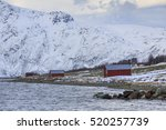 red rorbu fishing huts on... | Shutterstock . vector #520257739