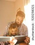 little girl spending time with... | Shutterstock . vector #520258321