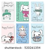 Stock vector set of cute rabbit cards vintage vector typography poster with hand drawn text and unicorn 520261354