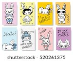 set of cute rabbit cards.... | Shutterstock .eps vector #520261375