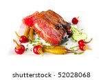 beef meat and red peppers on... | Shutterstock . vector #52028068