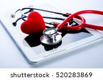 red heart  stethoscope on... | Shutterstock . vector #520283869